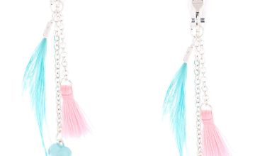 "Go to Product: Silver 2"" Feather Flower Clip On Drop Earrings - Turquoise"