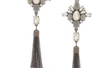 """Go to Product: Hematite 3"""" Velvet Glam Fringe Drop Earrings"""