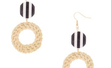 "Go to Product: Gold 3"" Round Striped Straw Drop Earrings - White"