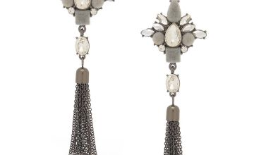"Go to Product: Hematite 3"" Velvet Glam Fringe Drop Earrings"