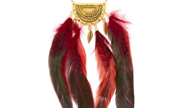 Go to Product: Gold Polka Dot Feather Long Pendant Necklace - Red