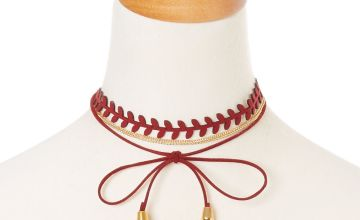 Go to Product: Burgundy Tassel and Gold Chain Dual Wear Head wrap