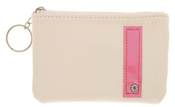 Go to Product: White Faux Leather Pink Initial Coin Purse - I