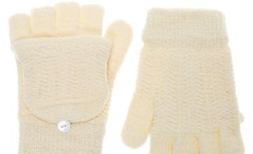Go to Product: Chenille Fingerless Gloves With Mitten Flap - Ivory