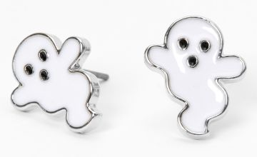 Go to Product: Silver Ghost Stud Earrings - White