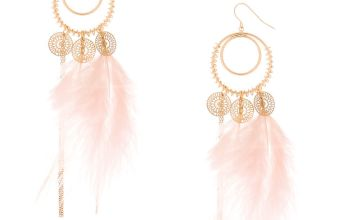 "Go to Product: Gold 4.5"" Feather Drop Earrings - Pink"