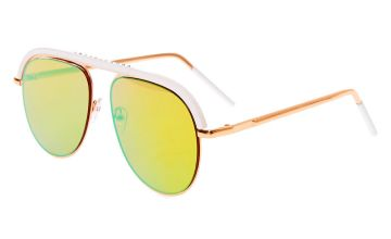 Go to Product: White Browbar Aviator Sunglasses - Rose Gold