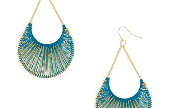 """Go to Product: Gold 3"""" Threaded Scoop Drop Earrings - Turquoise"""