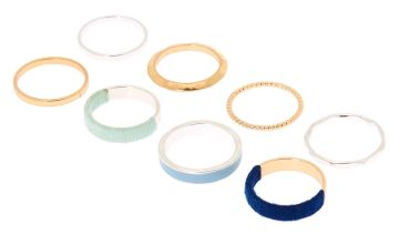 Go to Product: Mixed Metal Thread Wrapped Rings - Blue, 8 Pack