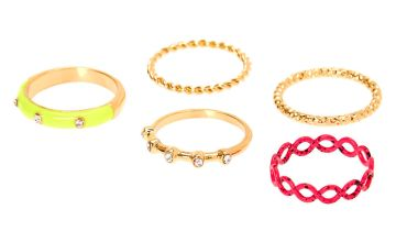Go to Product: Gold Neon Embellished Rings - 5 Pack