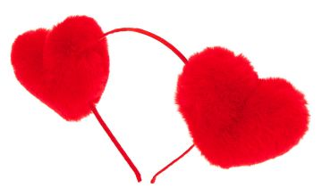 Go to Product: Fur Heart Headband - Red