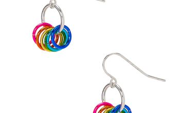 "Go to Product: 1"" Rainbow Rings Drop Earrings"