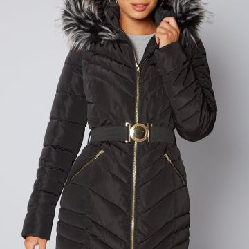 Belted Coat with Faux Fur Trim Hood