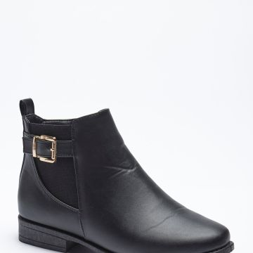 Buckle Flat Chelsea Boots