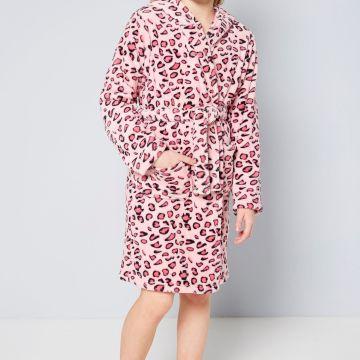 Girls Leopard Print Robe