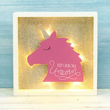 Wooden Unicorn Frame with LED Light