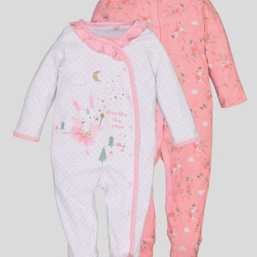 Pink Fairy Bunny Sleepsuits 2 Pack - 2-3 years