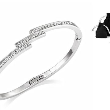 silver triple row bangle made with crystals from Swarovski from Silver Supermarket Ltd