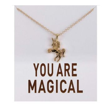 £5 instead of £25 for a 'you are magical' unicorn quote necklace from Solo Act Ltd - save 80%