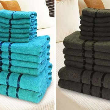 £14.99 instead of £39.99 (from Home Decoration World) for a 12-piece satin stripe bathroom towel set - save 63%