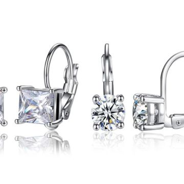 £18 instead of £69 for a Set of Square & Round Cubic Zirconia Earrings! from Genova International Ltd - save 74%