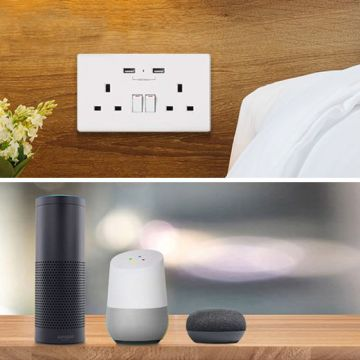 WiFi twin wall socket with two USB ports