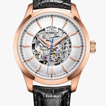 Rotary Gents Rose Plated Mecanique Auto Skeleton Watch