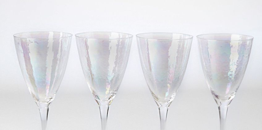 Set of 4 Clear Lustre Wine Glasses from Studio