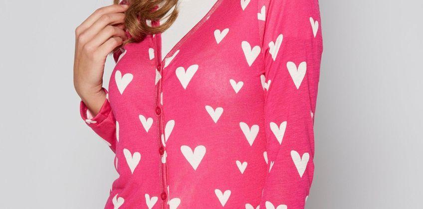 Heart Print Boyfriend Cardigan from Studio