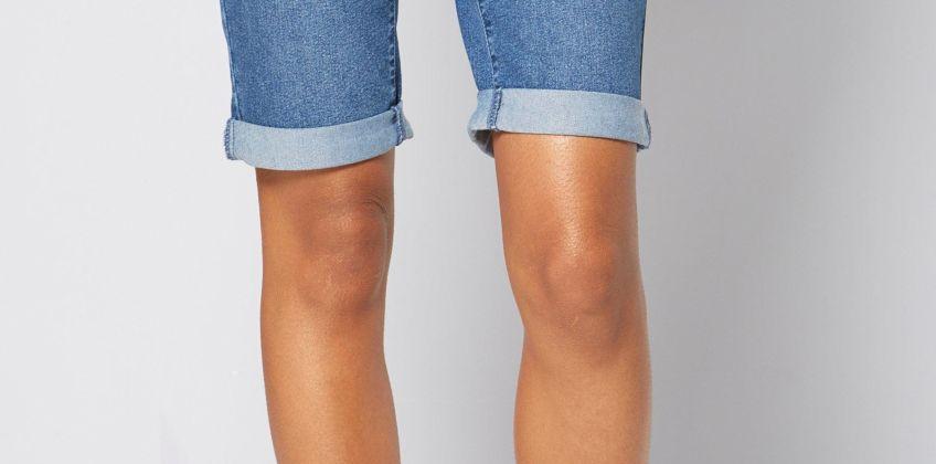 Longline Denim Turn Up Shorts from Studio
