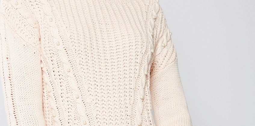 Chunky Cable Knit Faux-Pearl Embellished Jumper from Studio