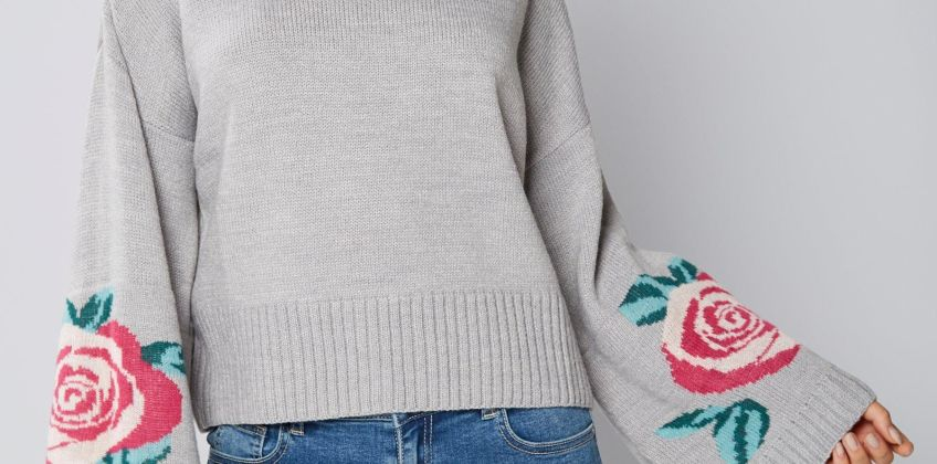 Jacquard Floral Volume Sleeve Jumper from Studio