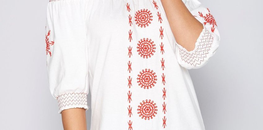 Embroidered Shirred Bardot Top from Studio