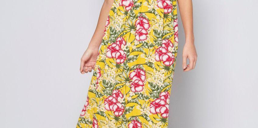 Bardot Yellow Floral Shirred Detail Maxi Dress from Studio