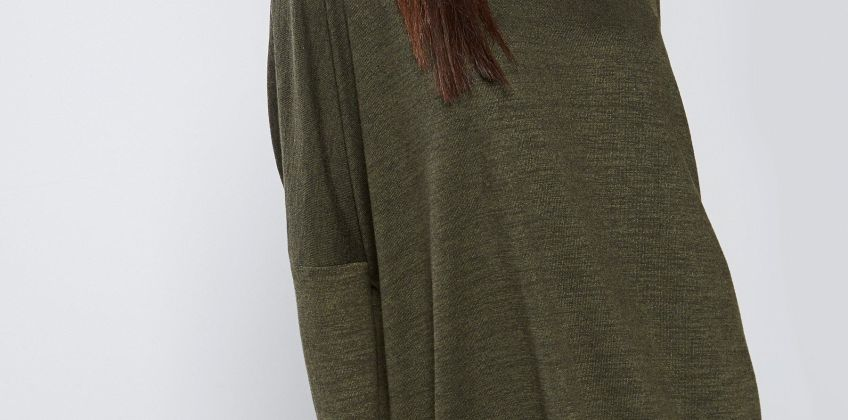 Apricot Melange Cowl Neck High Low Tunic from Studio