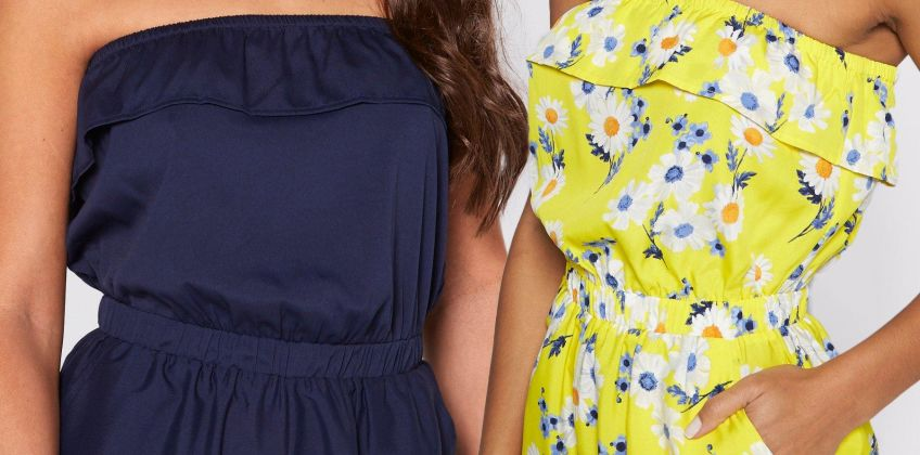 Pack of 2 Navy + Daisy Print Bandeau Frill Playsuits from Studio