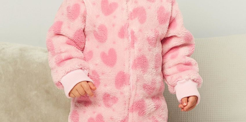 Baby Girls Heart Fleece Romper from Studio