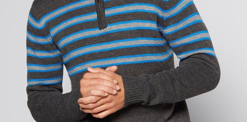 Zip Neck Stripe Knitted Jumper from Studio