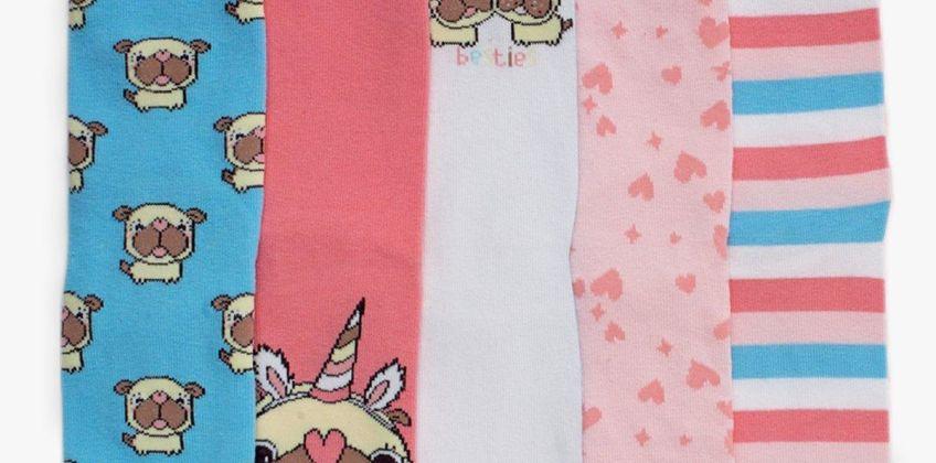 Girls Pack of 5 Pugicorn Socks from Studio