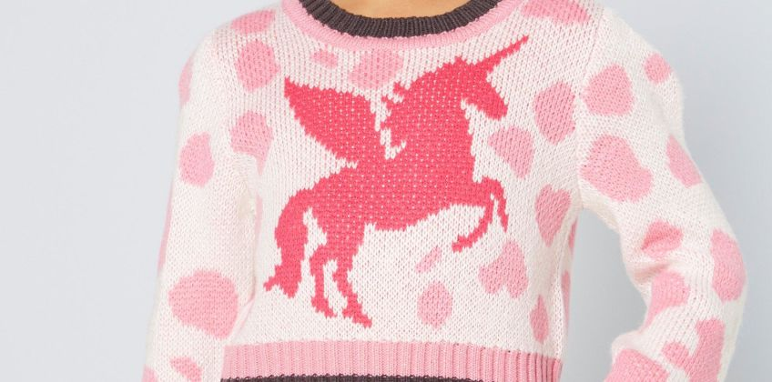 Younger Girls Unicorn Cropped Jumper from Studio