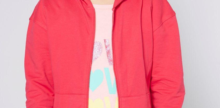 Girls Dark Pink Zip Through Hoody from Studio