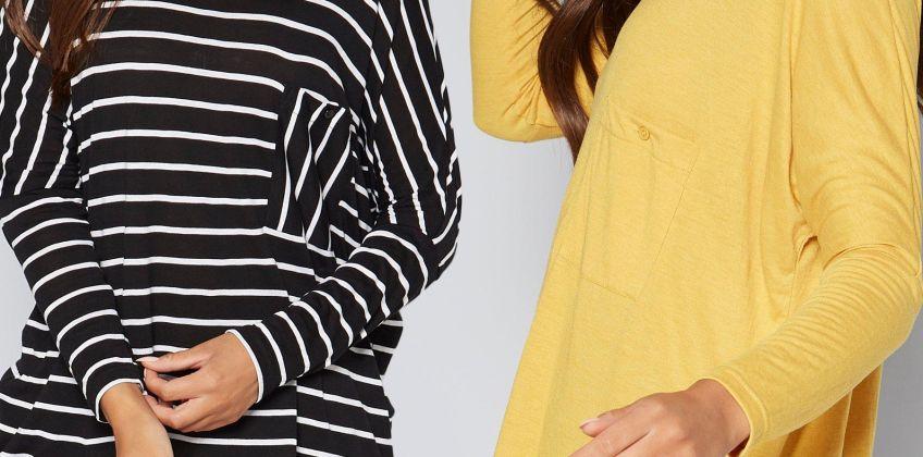 Pack of 2 Drop Shoulder Mono Stripe/Ochre T-Shirts from Studio