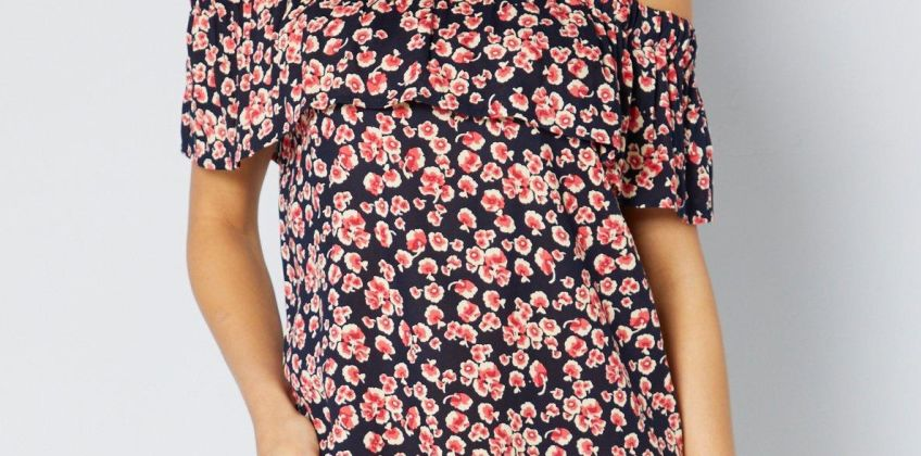 Bardot Rose Animal Frill Short Dress from Studio
