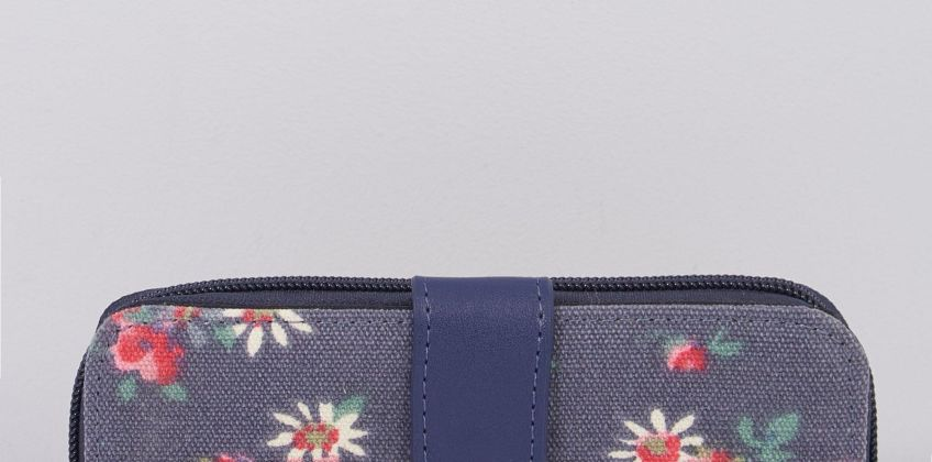 Navy Floral Canvas PU Purse from Studio