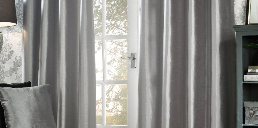 Faux Silk Eyelet Lined Curtains from Studio