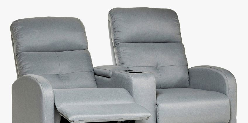 Recliner Love Seat Grey Fabric from Studio