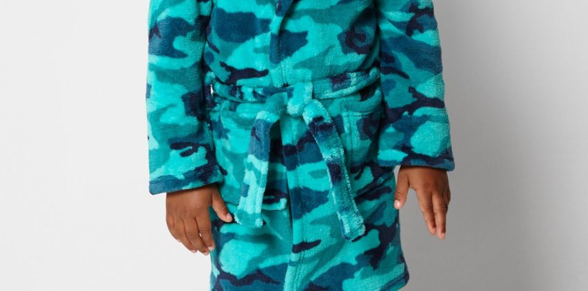 Embroidered Personalised Camo Green Supersoft Robe from Studio