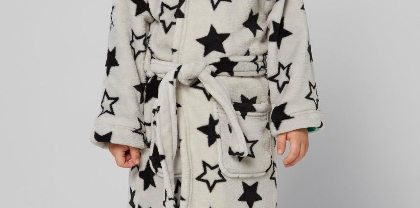 Embroidered Personalised Grey Star Supersoft Robe from Studio