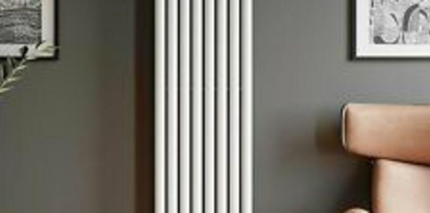 Designer Radiator Vertical White Oval Column Rads Double Panel 1800x480mm from ebay