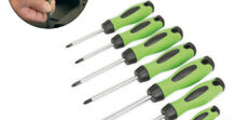 Sealey HV001 Screwdriver Hi Vis Hi-Visibility Green 8Pc With magnetized Tips Set from ebay